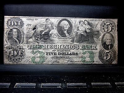 1854 $5 Obsolete Bank-Note ✪ Mechanics Bank ✪ Memphis Tennessee Tn ◢Trusted◣
