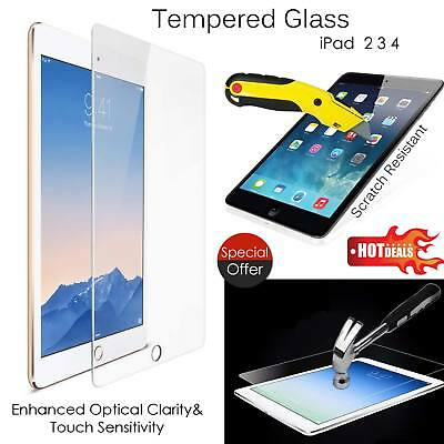 100% Genuine 9H Tempered Glass Film Screen Protector for Apple iPad 2 3 4 UK New