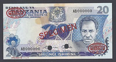 Tanzania 20 Shilling ND 1978 P7as Specimen TDLR  About Uncirculated