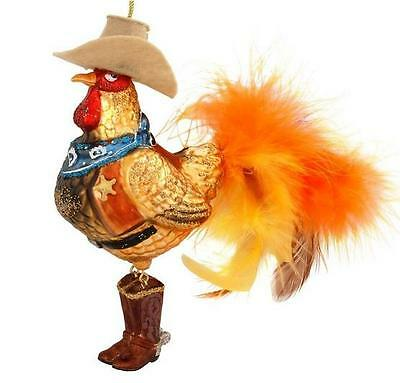 Country Western Rooster Special Glass Ornament In Sheriff Attire Feather Accent