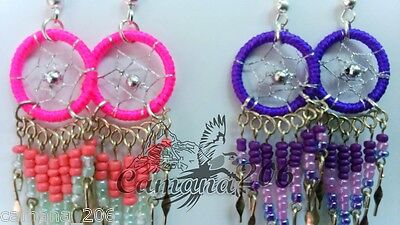 12 pair SMALL DREAMCATCH COLORFUL EARRINGS mix colors **HANDMADE**