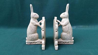 """Fine Pair Of Bunny Rabbit Bookends - Heavy Solid Cast Iron 5-1/8"""" x  7-3/4"""""""