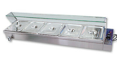 5 Pan Food Warmer Bain Marie Counter top Warmer Steam Table 1.5kw Restaurant