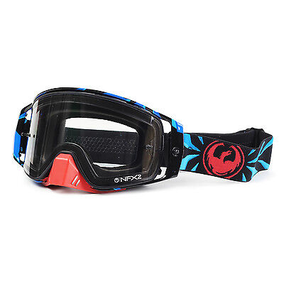 Dragon NEW NFX2 Mx Factor Injected Dirt Bike Blue Red Clear Motocross Goggles