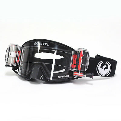 Dragon NEW Mx NFX2 Coal RRS Injected Clear Motocross Dirt Bike Roll Off Goggles