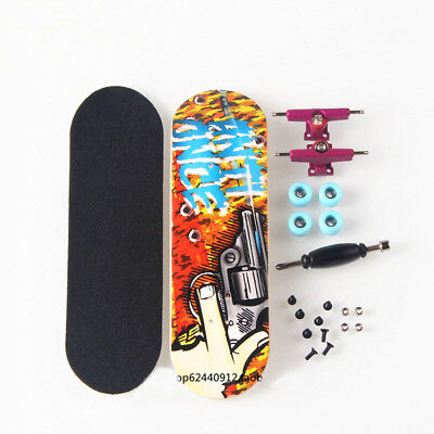 Complete Wooden Fingerboard - Maple Wood Finger Skate Board Black Grit Foam Tape
