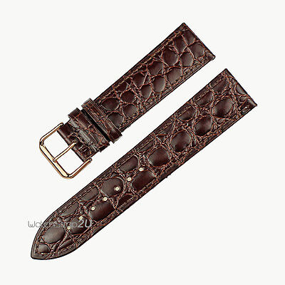 Brown Crocodile Grain Leather Wrist Watch Band Thin Slim Strap Rose Gold Buckle