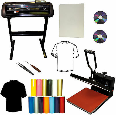 "24"" Vinyl Cutter Plotter,15x15 Heat Press,Transfer Paper,Tshirts Start-up Bundle"