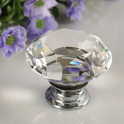 30mm Diamond Clear Crystal Glass Door Drawer Knob Handle Cabinet Wardrobe EW