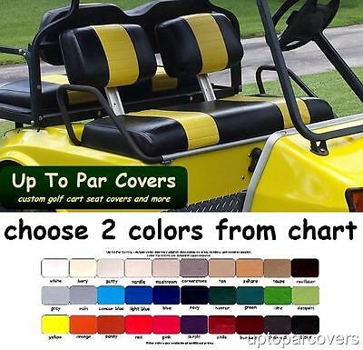 Club Car DS Pre-2000 Golf Cart Front & Rear Seat Cover Combo- 2 STRIPE STAPLE ON