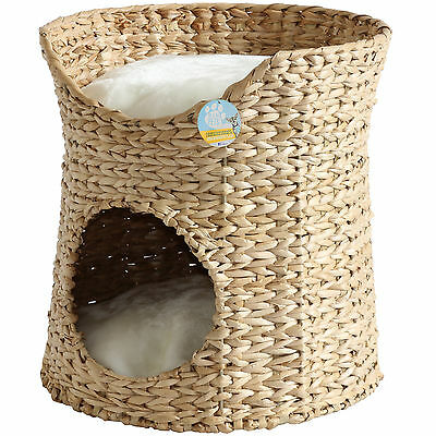 Me & My 2 Tier Woven Cat/kitten Bed Raised Twin Basket Wicker Cave/igloo/pod