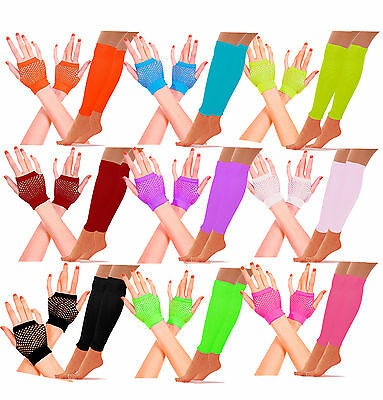 Neon Short Fishnet Gloves Legwarmers Set Hen Party 80's Disco Tutu Fancy Dress