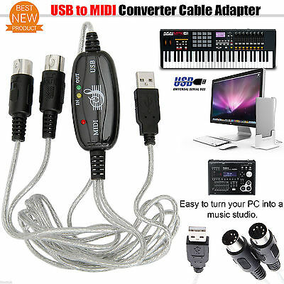 USB to Midi Cable Converter Adapter Keyboard Piano Interface F. Windows Mac PC