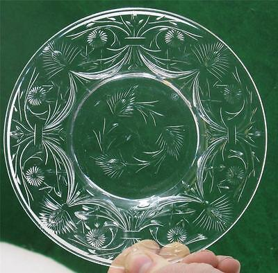 "Antique Libbey Hand Cut Glass Crystal 9"" Plates Set of 12 Signed"