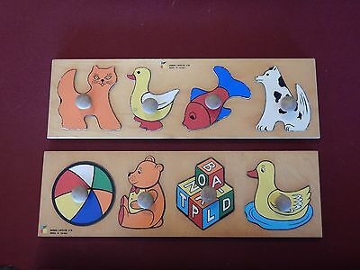 Puzzles Made in Israel Two Doron Layeled Ltd Early Childhood Shape Duck Fish Cat