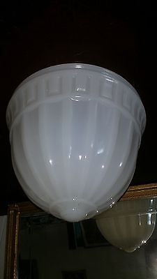 "White Glass Art Deco MEFCOLITE Ceiling Light Lamp Shade 12"" Fitter , 10"" tall"