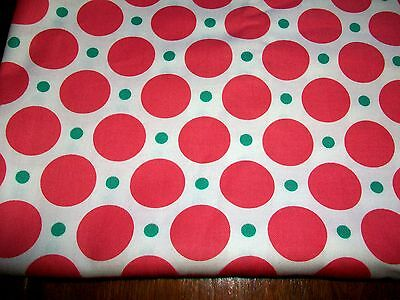 Pink Polka Dots On White Cotton Quilt Fabric