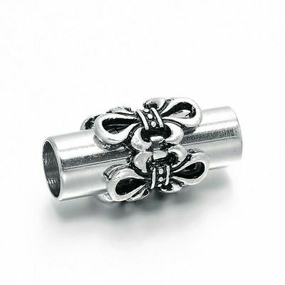 5.5mm I.D. Column Magnetic Clasp, flower 10mm x 19.5mm with glue in ends