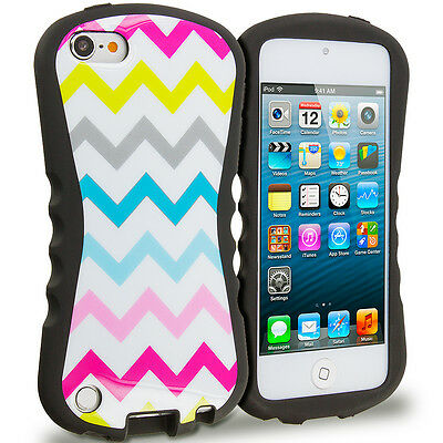 For iPod Touch 6th Gen Shockproof Hybrid Armor Hard Case Cover Colorful ZigZag