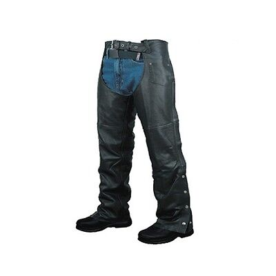 02 Pairs Deal Men's Leather Motorcycle Plain Chaps New