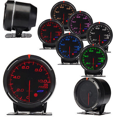 "7-Colour Car Auto Sport Light LED Oil Pressure Gauge Meter 60mm/2.36"" Black"