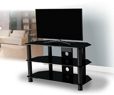 """King Black Glass TV Stand Gloss Cabinet LCD LED TVs 20""""-50"""" inch - 80cm width"""