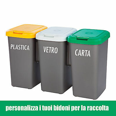 adesivo wall stickers bidoni raccolta differenziata carta umido vetro plastica