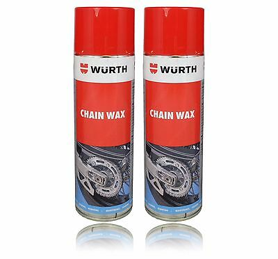 Twin Pack High Performance Wurth Chain Wax, 500ML Spray Can, Motorcycle