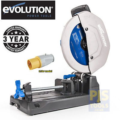 Evolution EVO355 110v raptor 355mm tct steel cutting saw chop 3 year warranty
