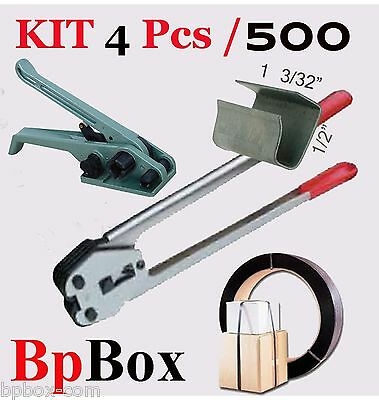"Tensioner and Cutter 1/2"" to 5/8"" + Strapping Poly Crimper +500 seal KIT4"