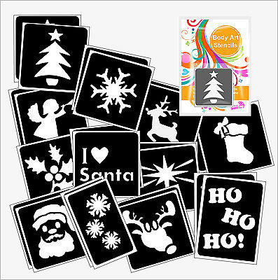 Pack of 24 CHRISTMAS GLITTER TATTOO STENCILS for Glitter and Ink Body Art