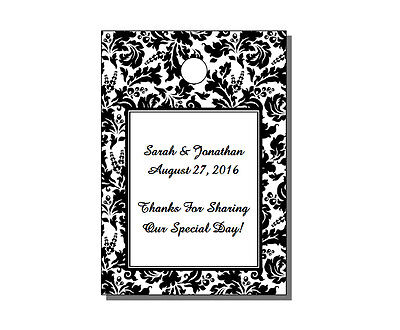 """64 Personalized Floral Damask Wedding Rectangle Gift Hang Tags 1.75x2.5"""""""