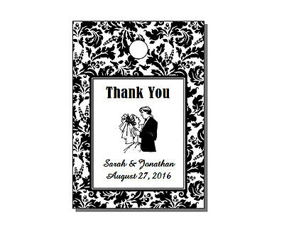 """64 Personalized Damask Wedding Rectangle Thank You Gift Hang Tags 1.75x2.5"""""""