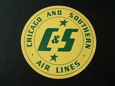 ORIGINAL 1940s  C&S CHICAGO & SOUTHERN AIR LINES LABEL STICKER