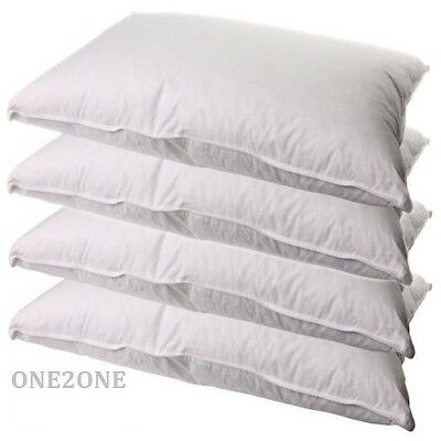 PACK OF 4 PURE DUCK FEATHER AND DOWN PILLOWS- 250T COTTON CASE, 4 x 1000G