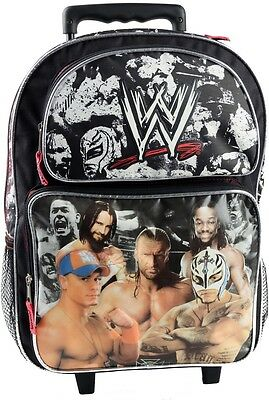"""2016 Brand New WWE with John Cena Triple H 16"""" Large Rolling Backpack - NEW!!!"""