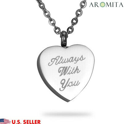 """Always With You"" Heart Cremation Jewelry Pendant Keepsake Memorial Urn Necklace"