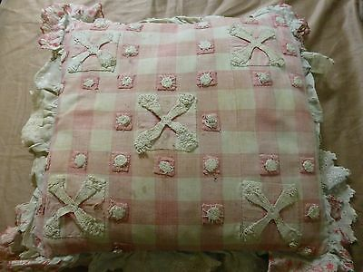 1800's Antique Woven design pillow made of Pink Gingham Hand Made Eyelet OLD