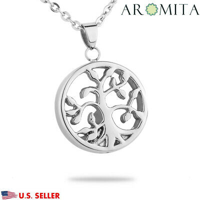 3D Tree of Life Cremation Jewelry Pendant Ashes Keepsake Memorial Urn Necklace