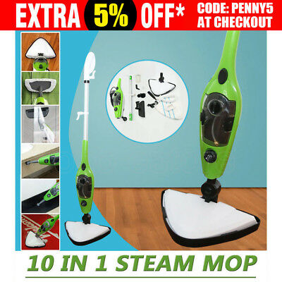 10 in 1 Steam Mop Floor Steaming Cleaning Use with H2O Water Cleaner Kitchen AU