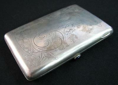 RARE ANTIQUE RUSSIAN IMPERIAL SILVER  MARK 84  1890's ENGRAVED CIGARETTE CASE >>