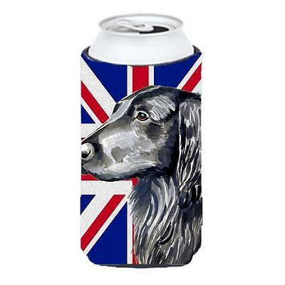 Flat Coated Retriever With English Union Jack British Flag Tall Boy bottle sl...
