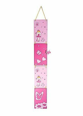 Wooden Pink Princess Children's Height Chart Growth Chart Girls Nursery Bedroom