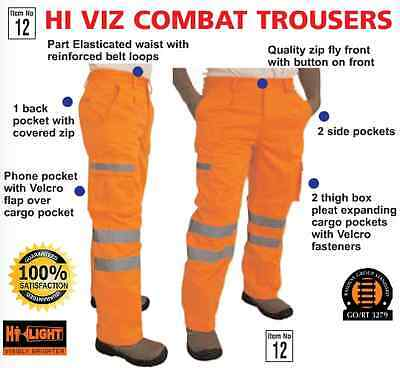 Hi viz orange cargo trousers combat hi vis all sizes hi high visability