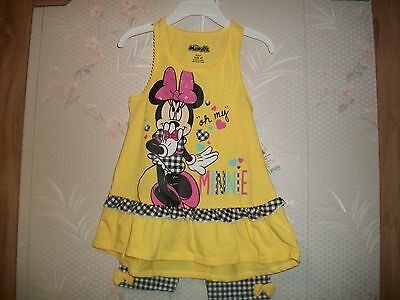 Disney's Infant Toddler Girl's Minnie Mouse 2 Peice Capri And Tank Top Set 4T,3T