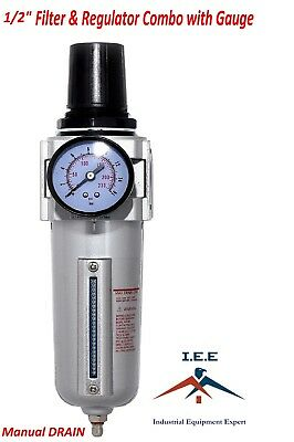"Air Pressure Regulator & Filter combo Compressor 1/2"" & gauge"