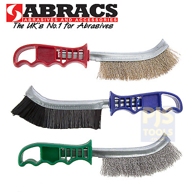 Abracs 3pc plastic handle wire scratch brush set steel brassed nylon & stainless