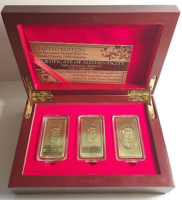 """NED KELLY"" Set Of 3 x 10grm Ingots With Display Box HGE 999 Gold Antique LTD"