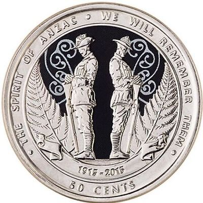 2015 NZ New Zealand 50 Cent The Spirit Of ANZAC Coin, First Colour Coin CH UNC
