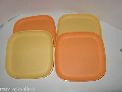 Tupperware Snack Plates (set of 4)-BRAND NEW ( Color: 2 Orange and 2 Yellow)